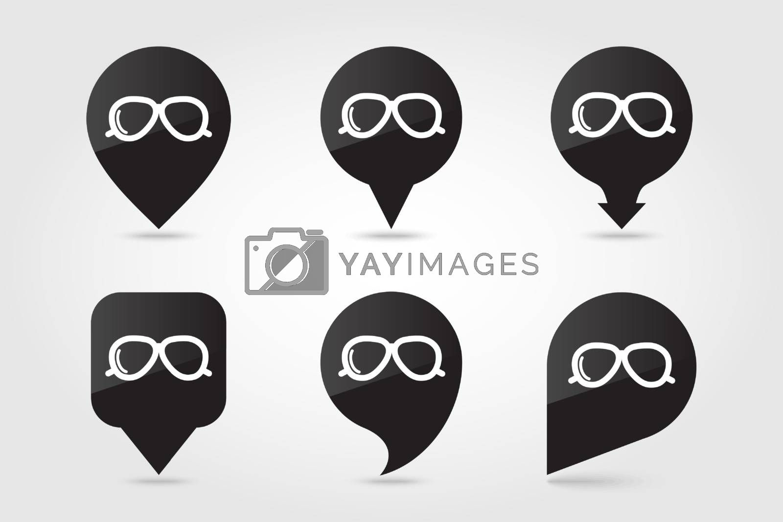 Sunglasses outline pin map icon. Map pointer. Map markers. Meteorology. Weather. Vector illustration eps 10