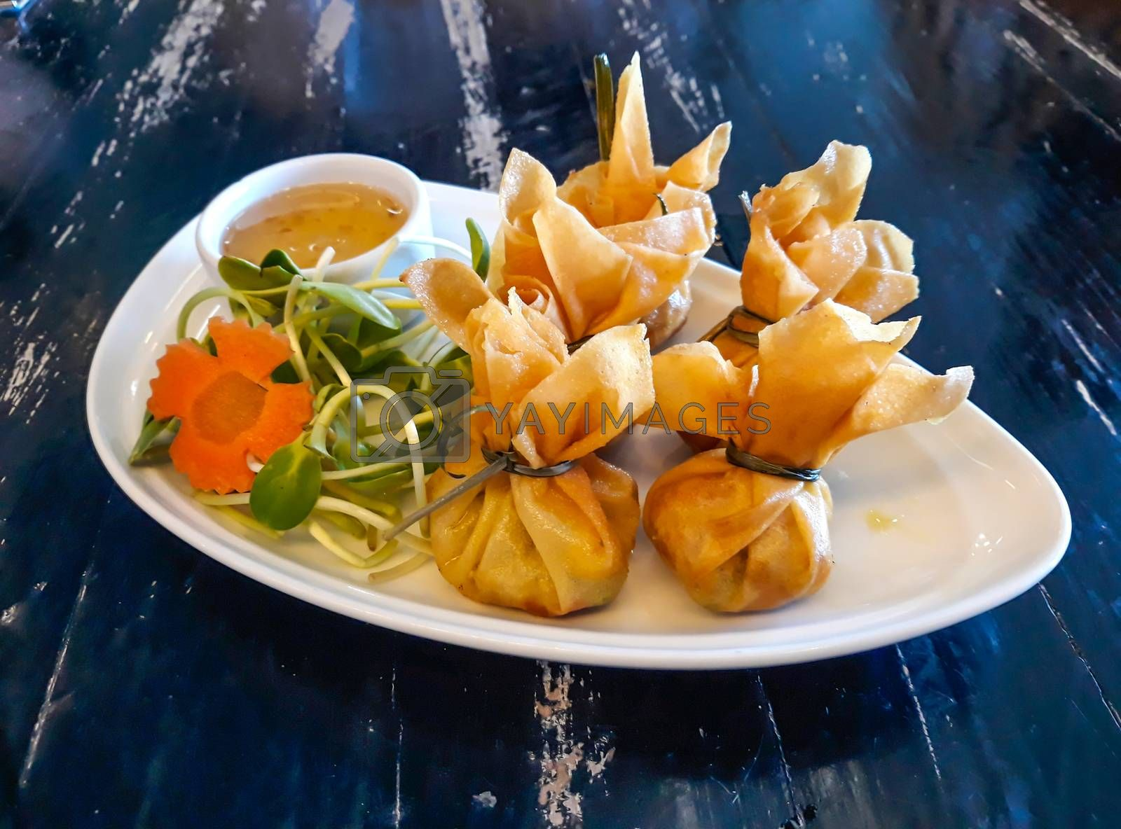 Thai Traditional Spring Rolls (Toong Tong) ,Thai snack. by Nunnicha Supagrit