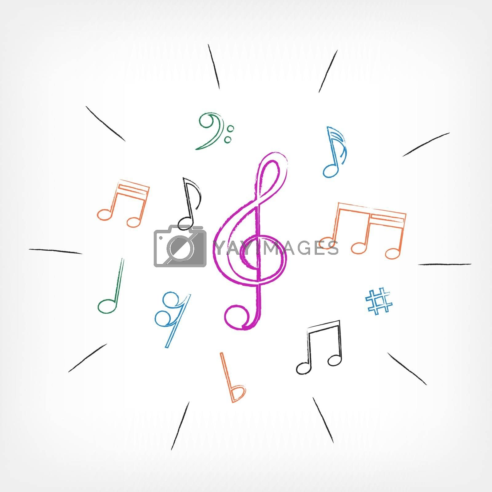 drawing musical notes white background by romvo