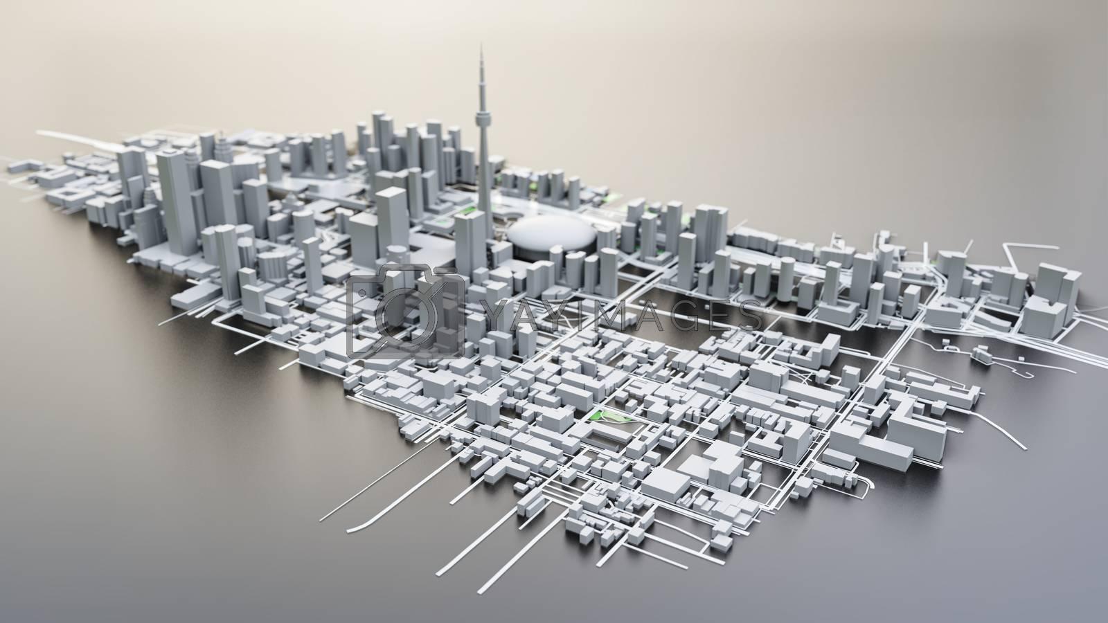 3D futuristic city architecture by cherezoff