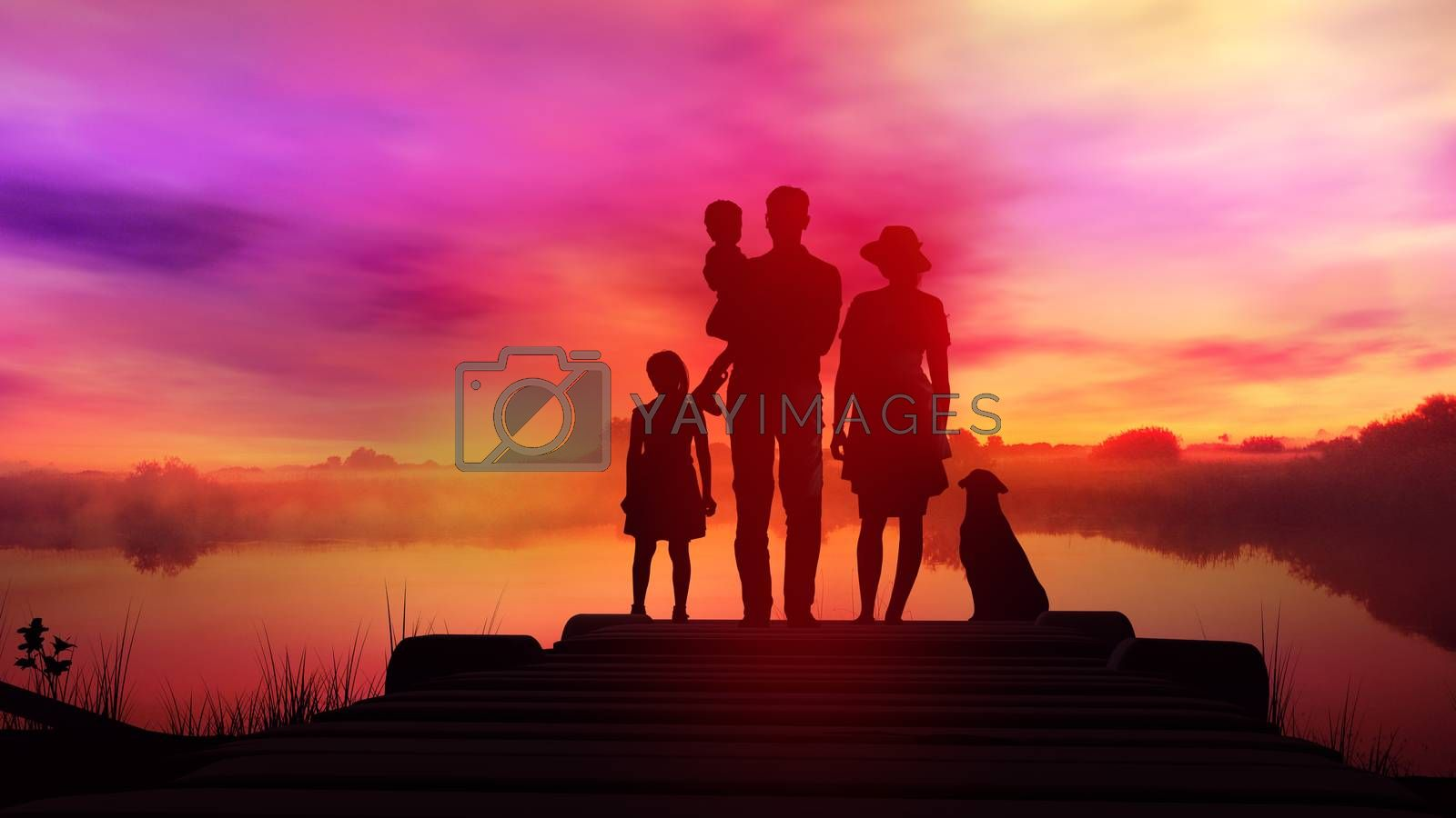 Family on wooden pier at bright sunset background by ConceptCafe
