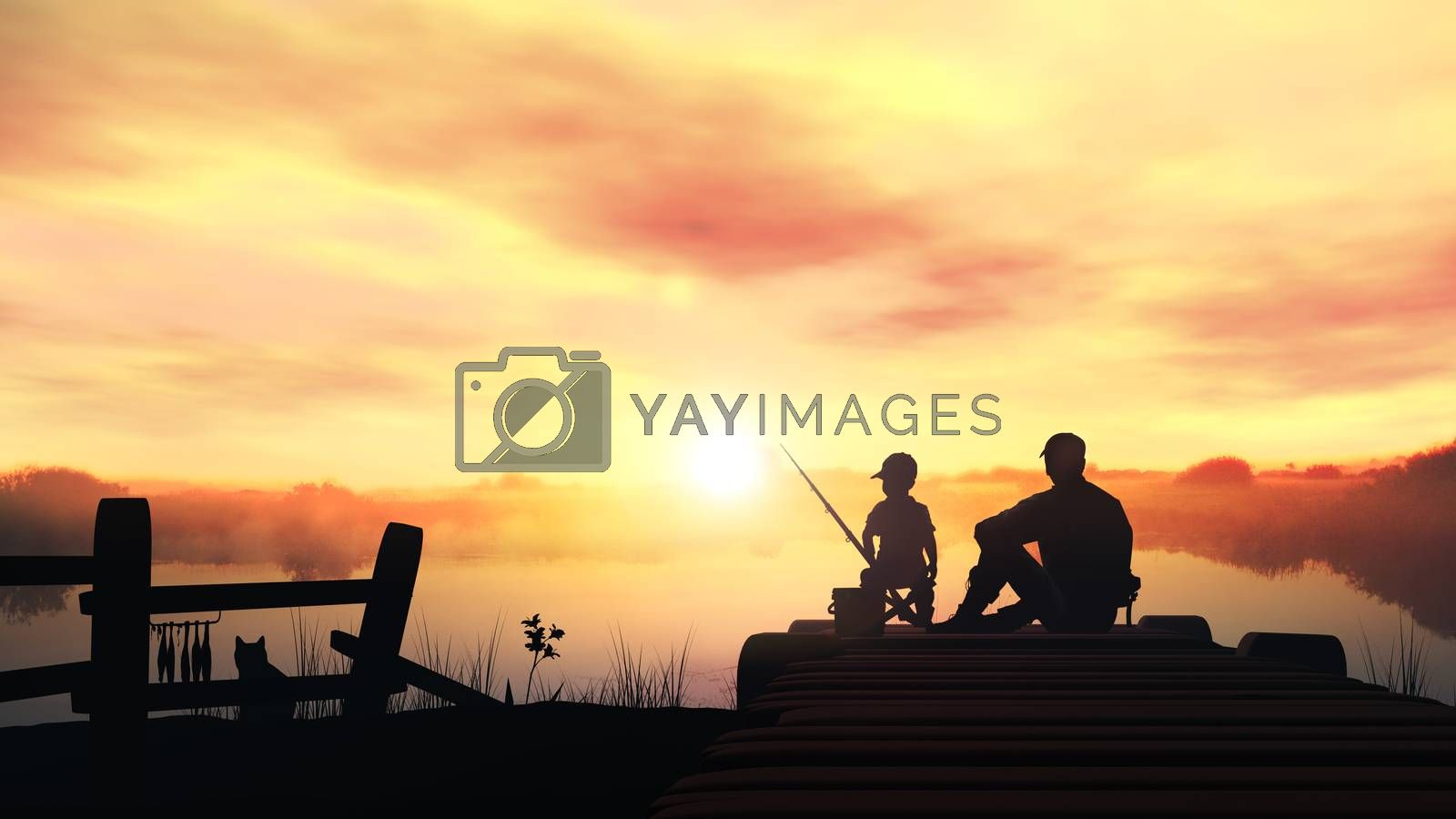 Father and son in the morning fishing by ConceptCafe
