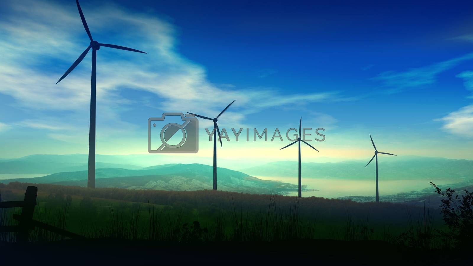Silhouettes of wind power plants towering against the background of a beautiful landscape.