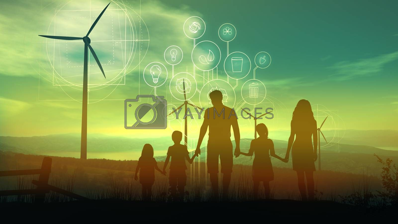 Family of five on the background of wind turbines and the environmental infographics by ConceptCafe