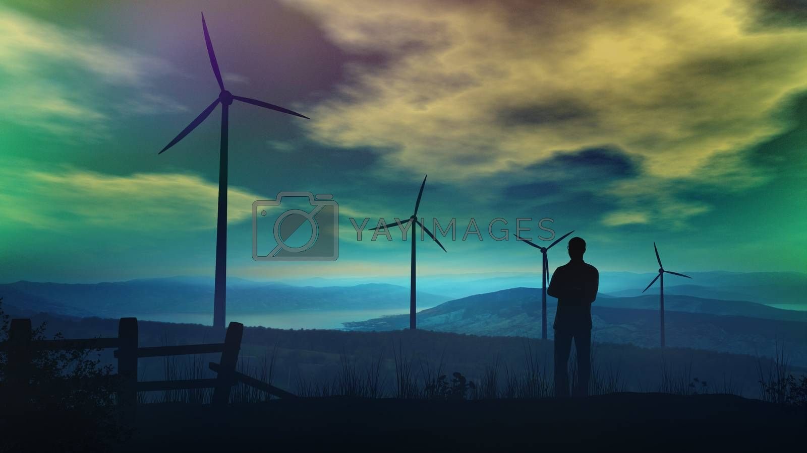 Evening landscape with wind turbines and a standing man by ConceptCafe