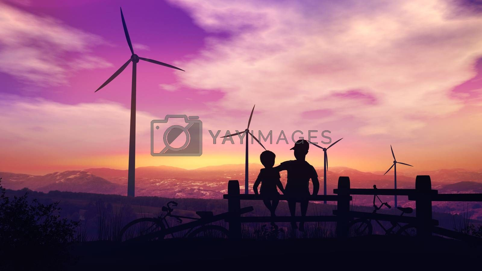 Two boys at sunset look at wind turbines by ConceptCafe