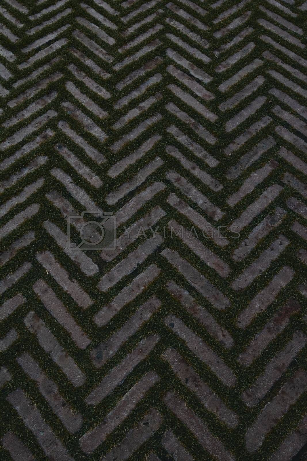 Stone brick and grass pattern background