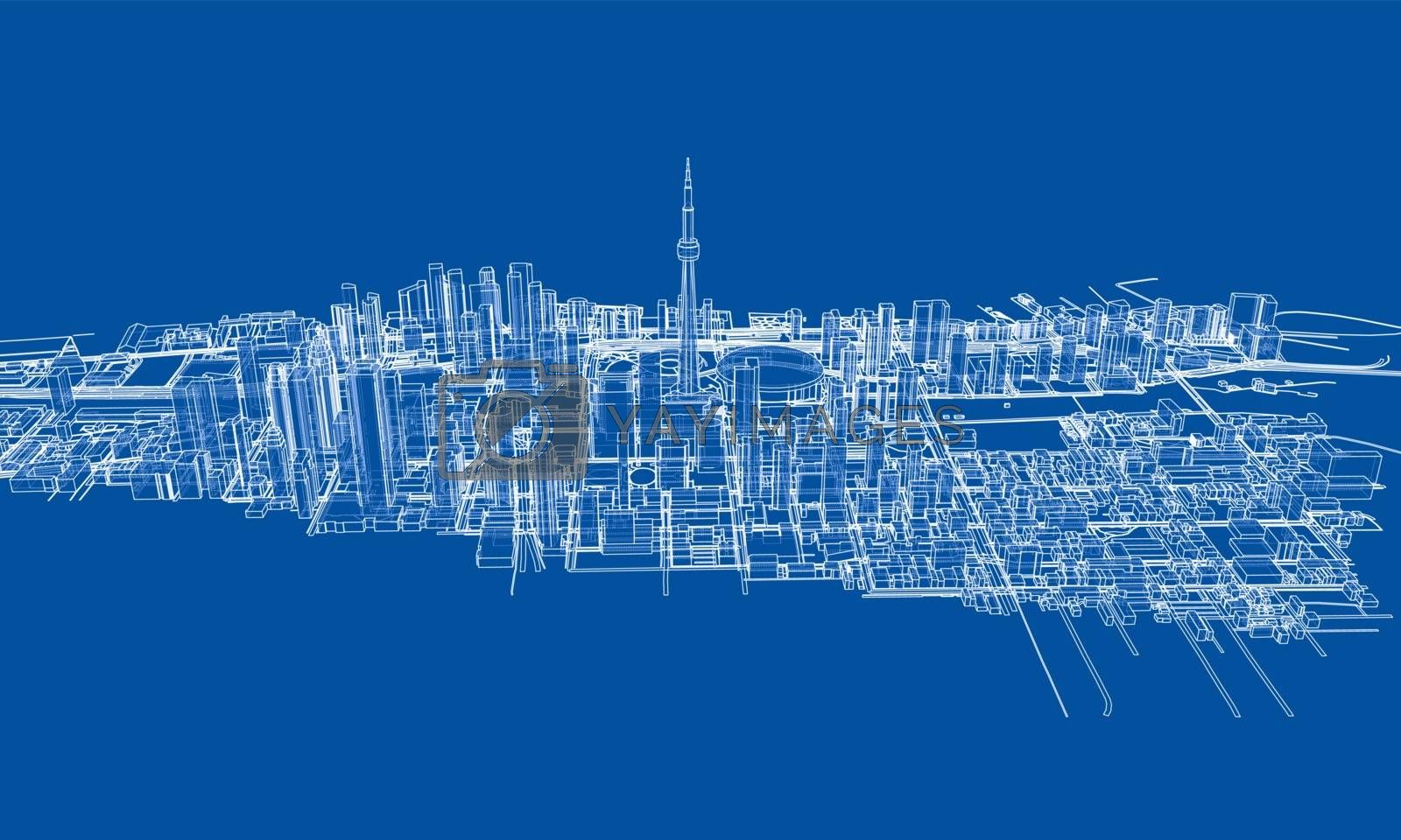 Outline city concept. Wire-frame style by cherezoff