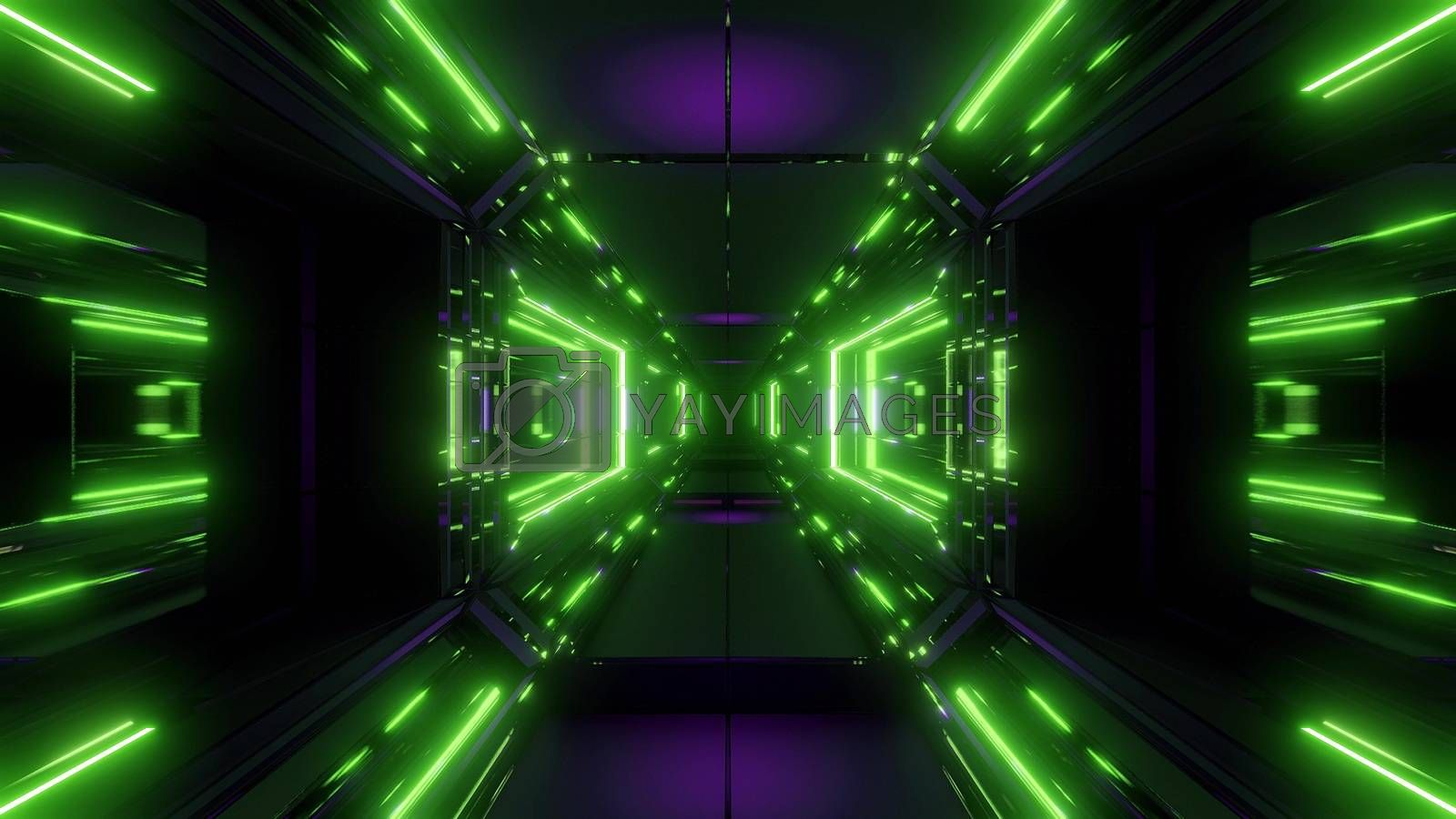 scifi space tunnel corridor with glowing shiny lights 3d illustration background by tunnelmotions