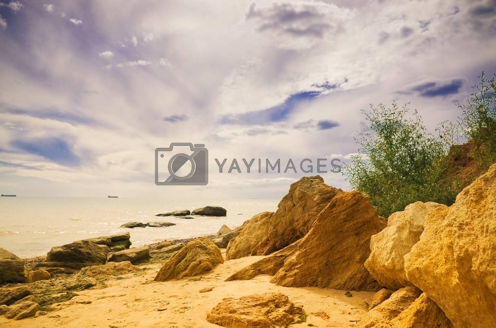 sea shore, sand and stones