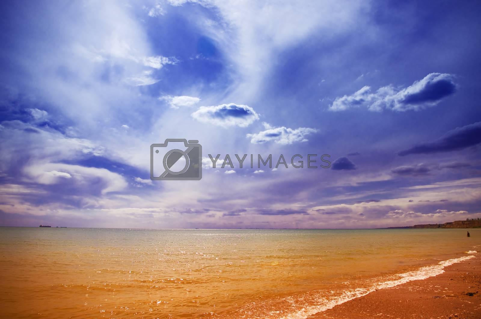 Blue, evening sky over the sea