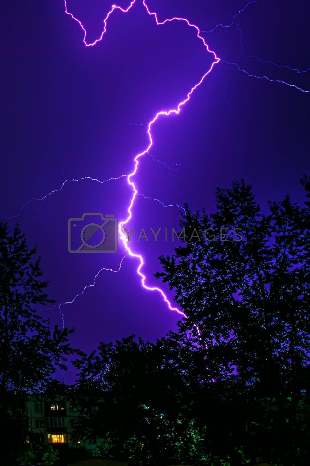 lightning during a thunderstorm in the night by VladimirZubkov