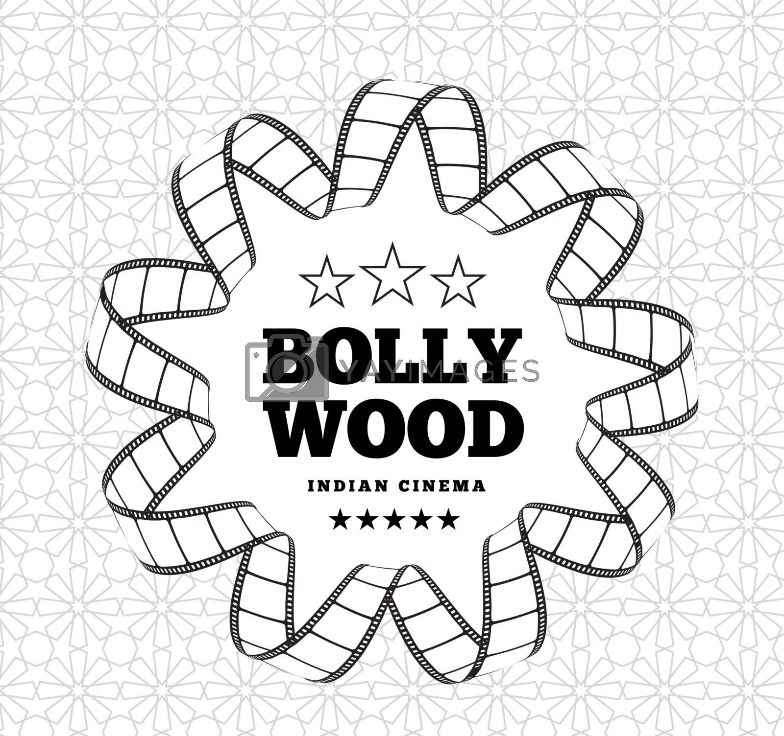 Bollywood is a traditional Indian movie. Vector illustration with film strip on light background