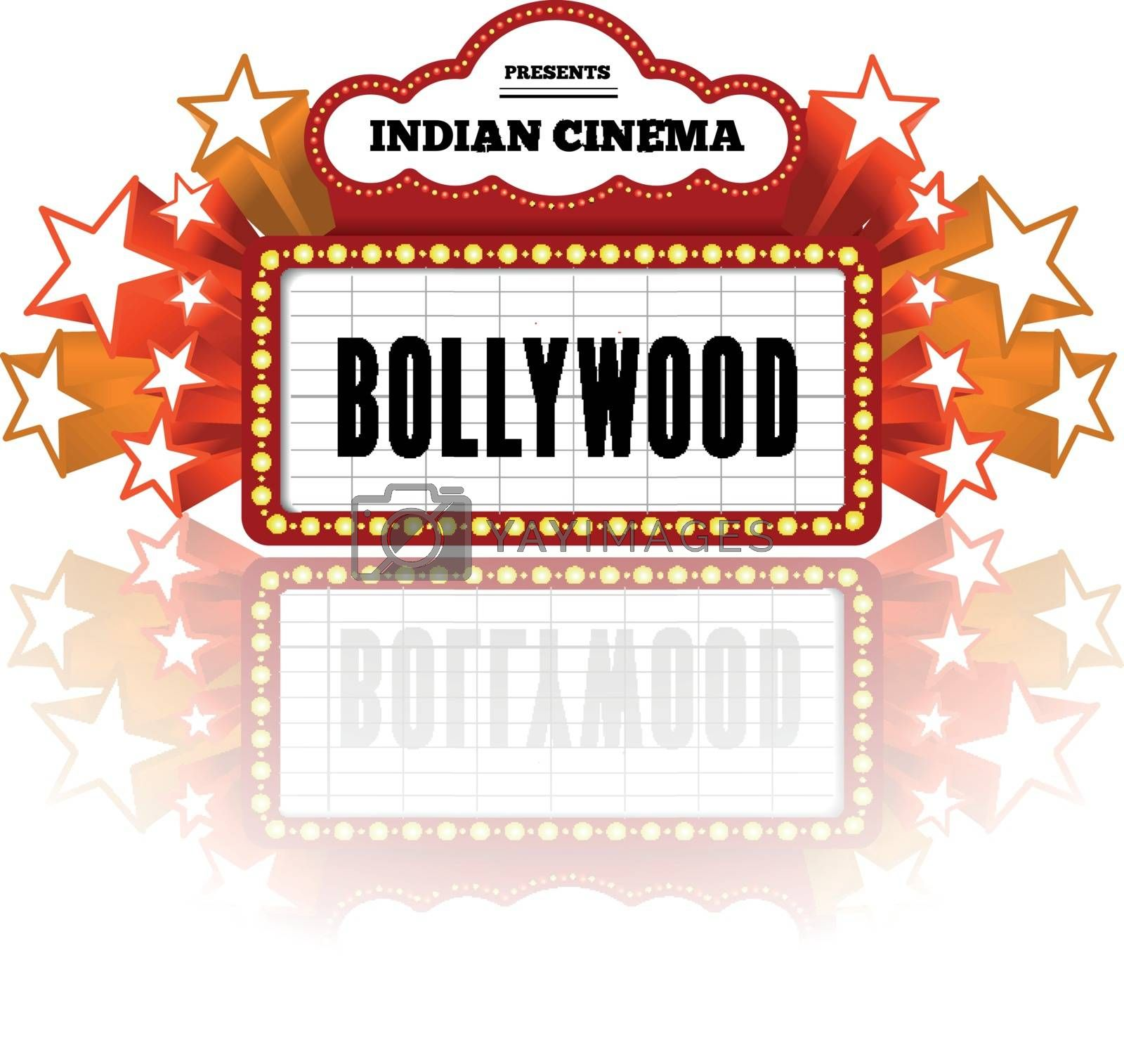 Bollywood is a traditional Indian movie. Vector illustration with marquee lights on white