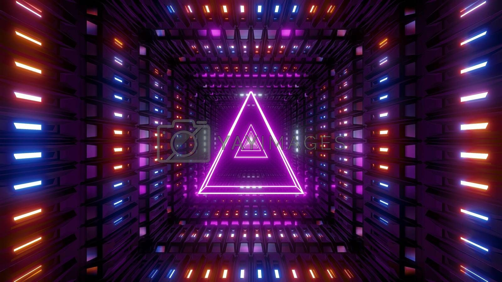 glowing wireframe triangle with metal shining background 3d illustration by tunnelmotions