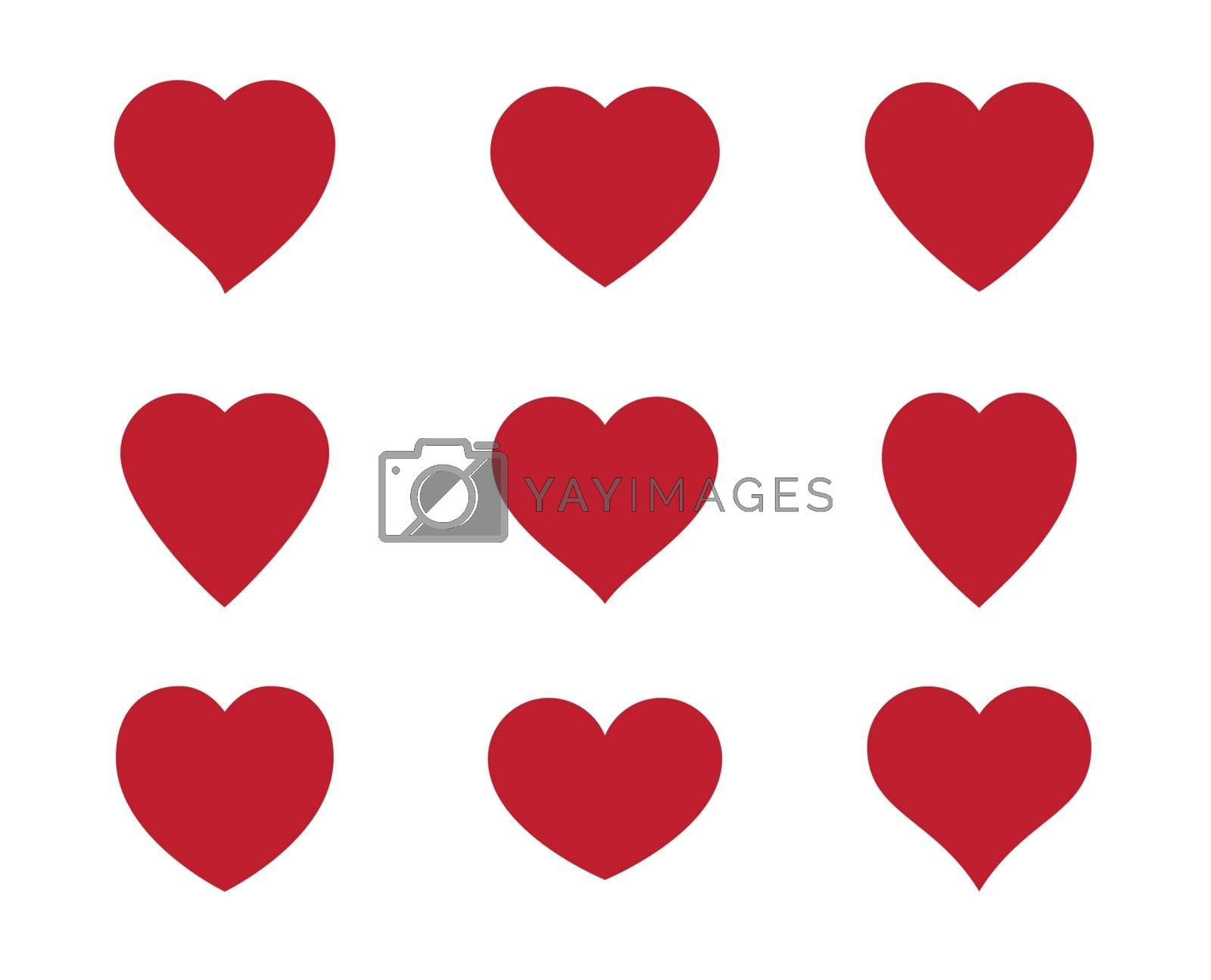Red heart Icon isolated on white background. Set of love symbol for web site logo, mobile app UI design. Vector illustration flat style