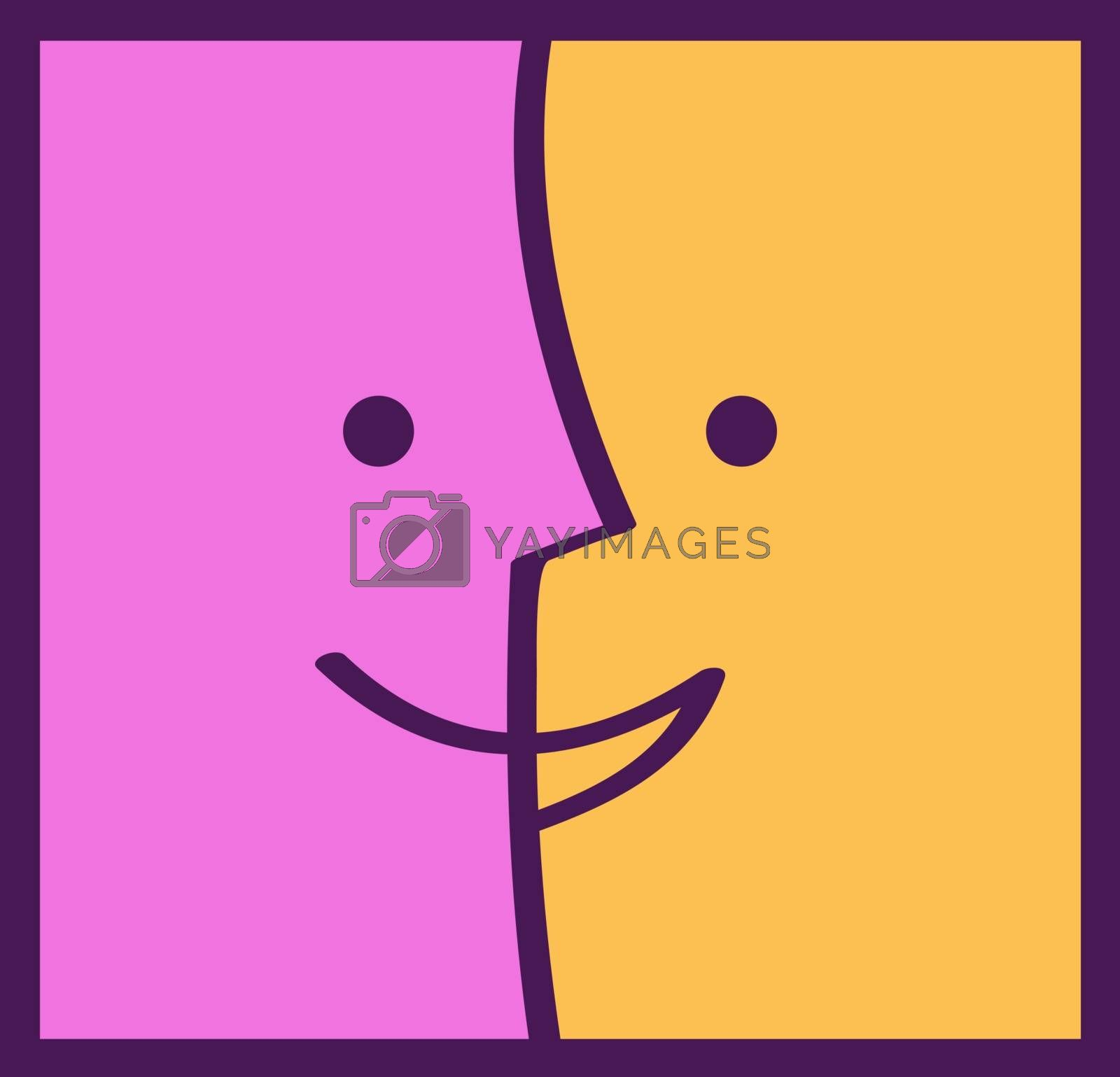 Color faces emotions. Communication and partnership concept