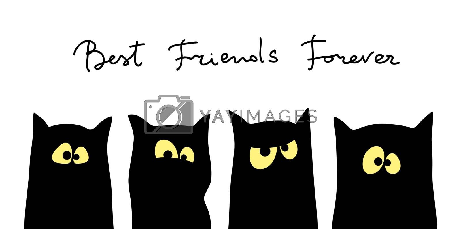 Four black cats silhouettes with different tempers. Friendship concept. Best friend forever. Vector illustration