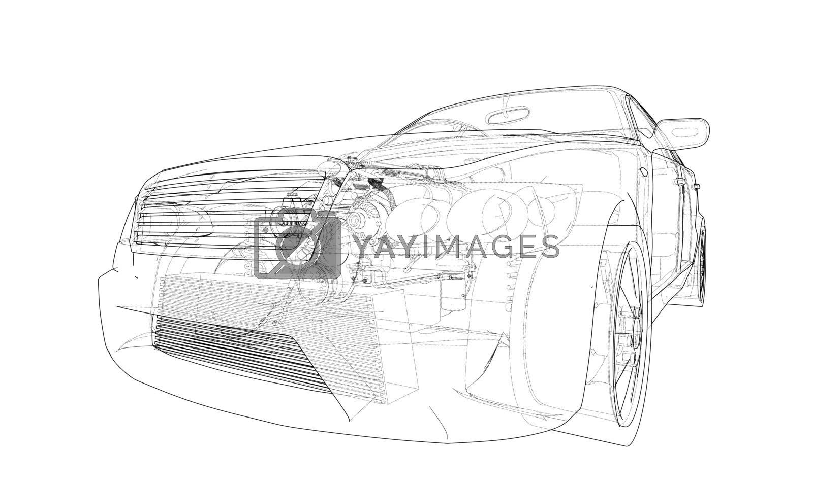 Concept car. Vector rendering of 3d by cherezoff