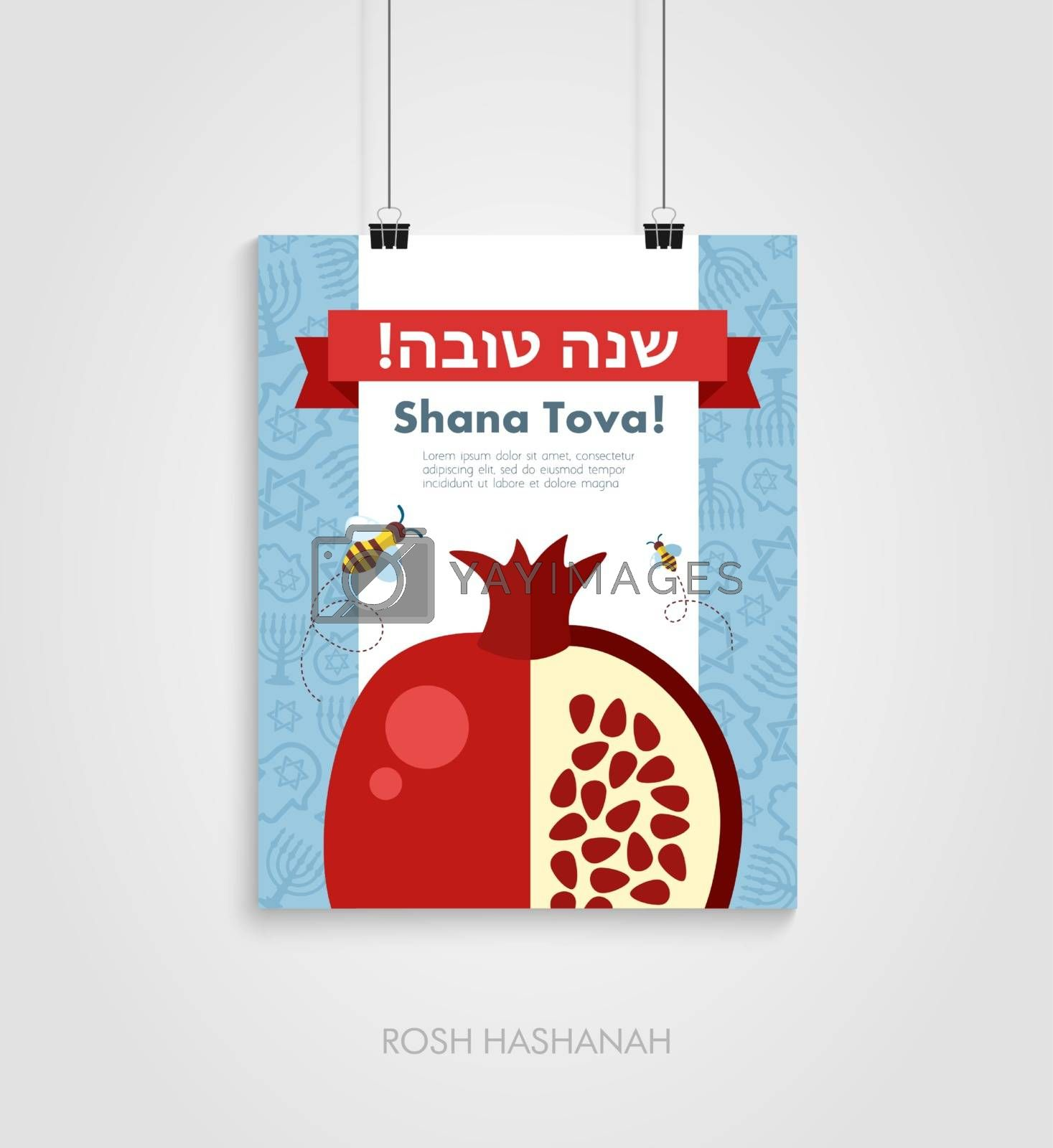 Poster for Jewish new year holiday. Rosh Hashanah by nosik
