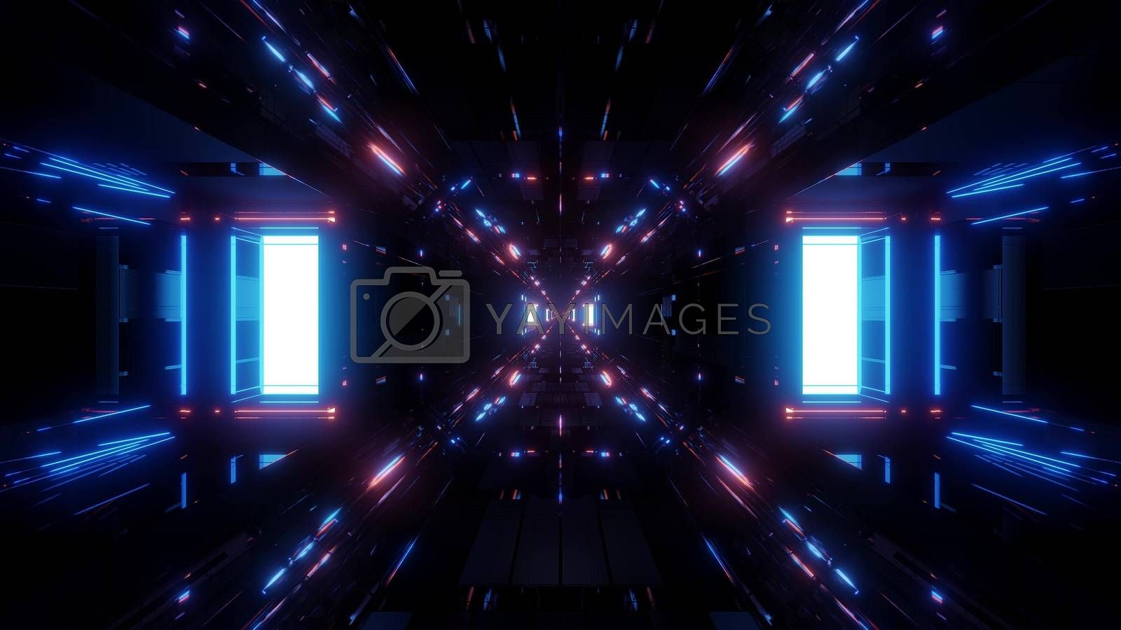 beautiful futuristic scifi space ship tunnel background 3d illustration 3d rendering by tunnelmotions
