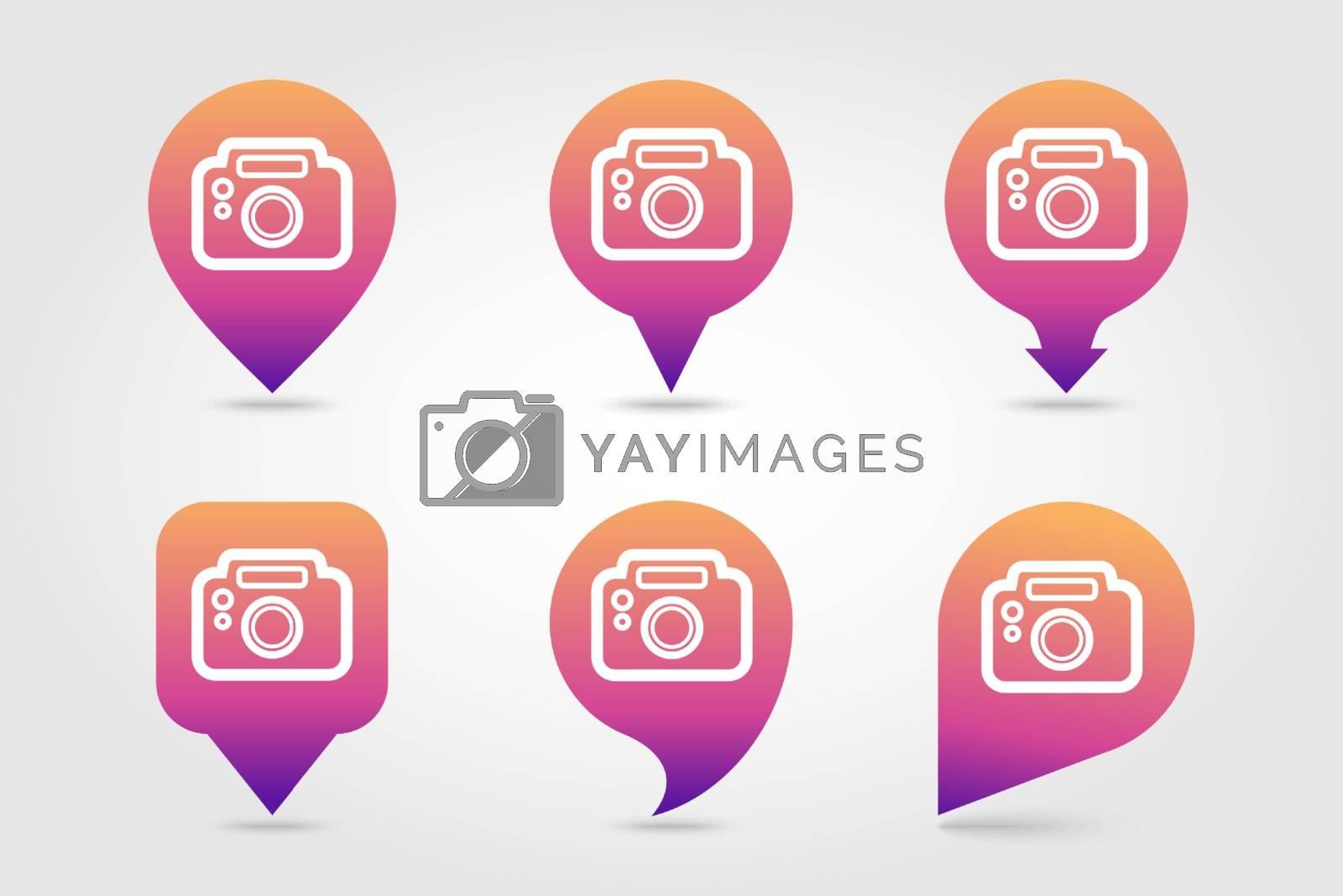 Photo Camera pin map icon. Summer. Vacation by nosik
