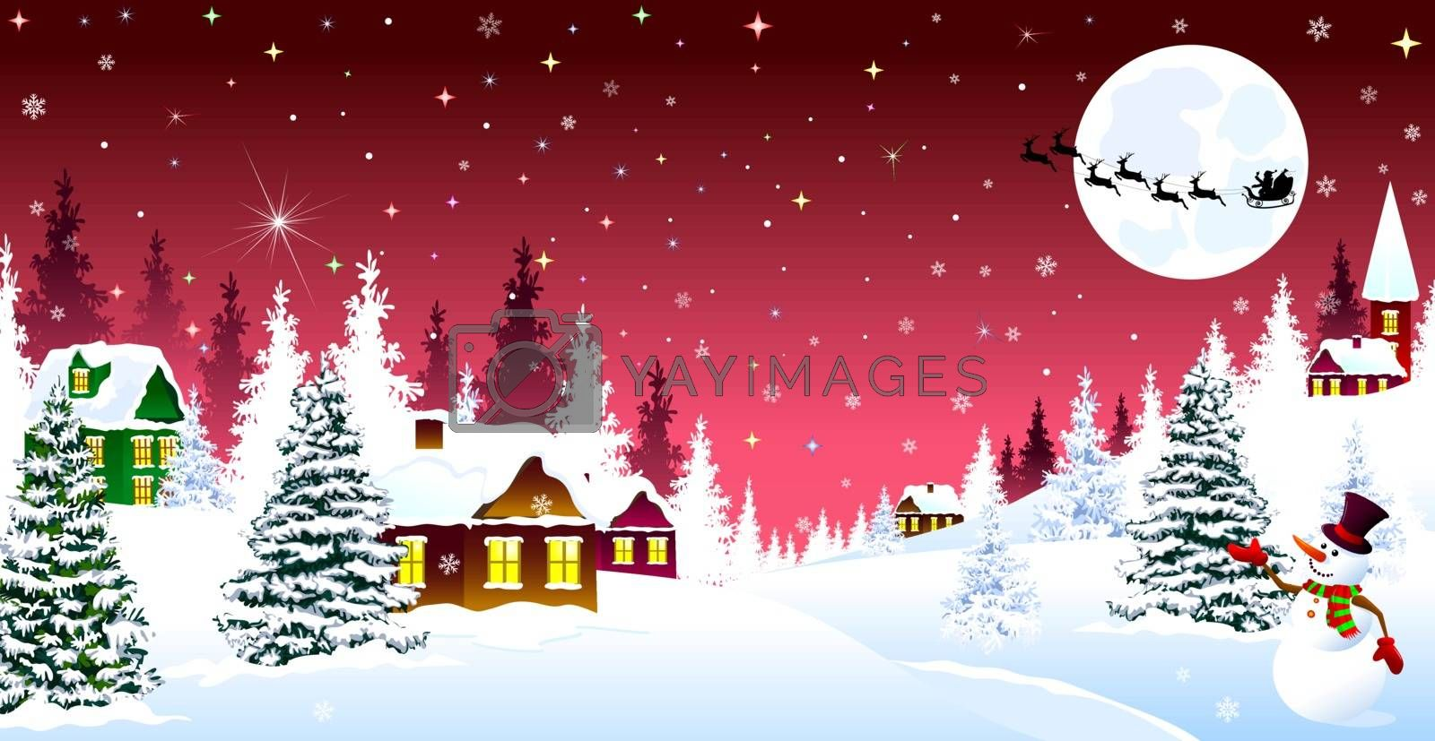 Winter rural landscape. The night eve Christmas. Village, snow, forest. Shining stars and snowflakes in the night sky. Santa on a sleigh on the background of the moon. Christmas winter night scene.