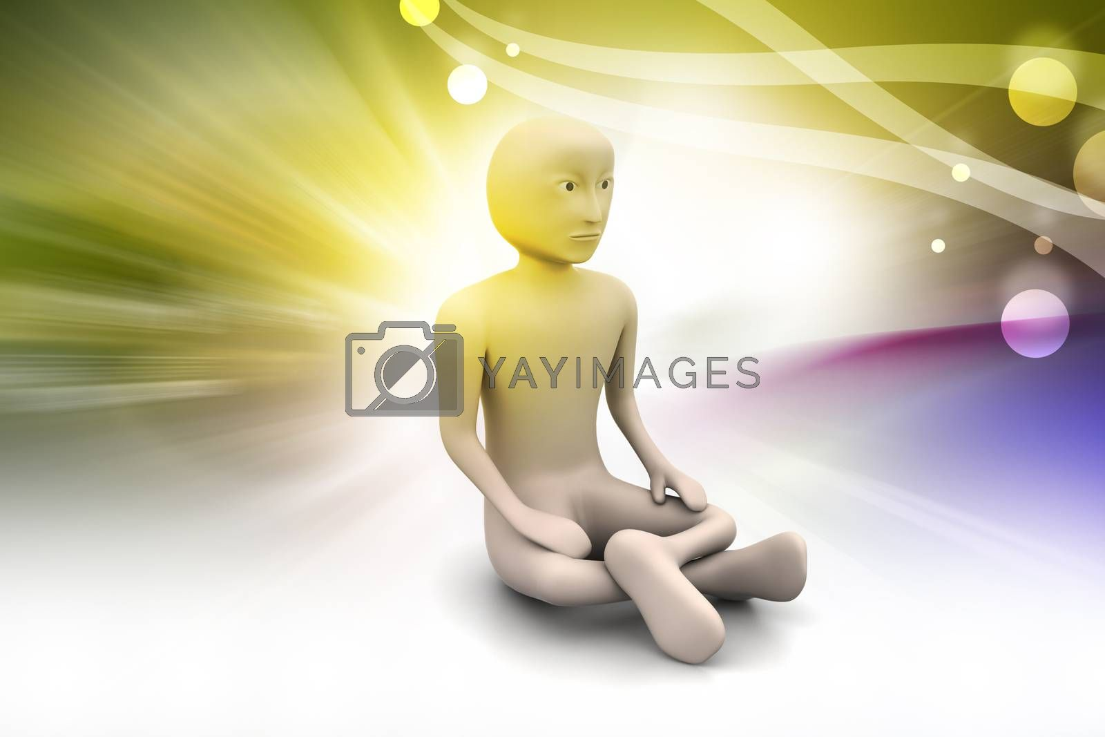 3d man in meditation