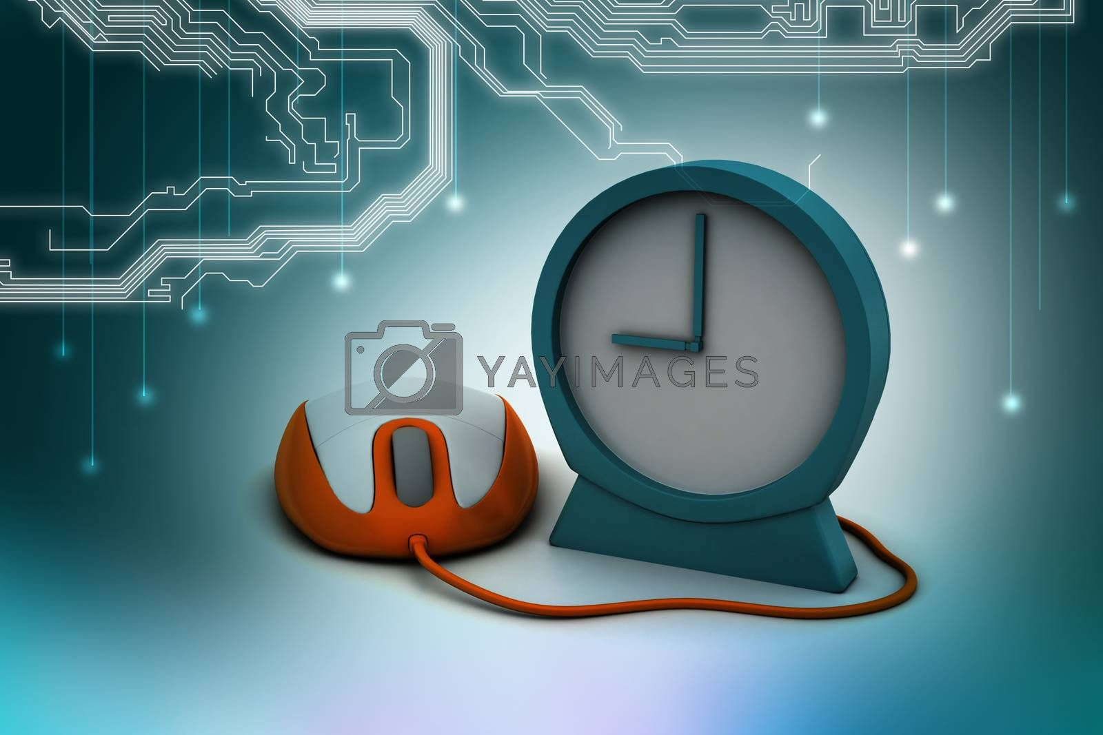 Alarm clock and computer mouse