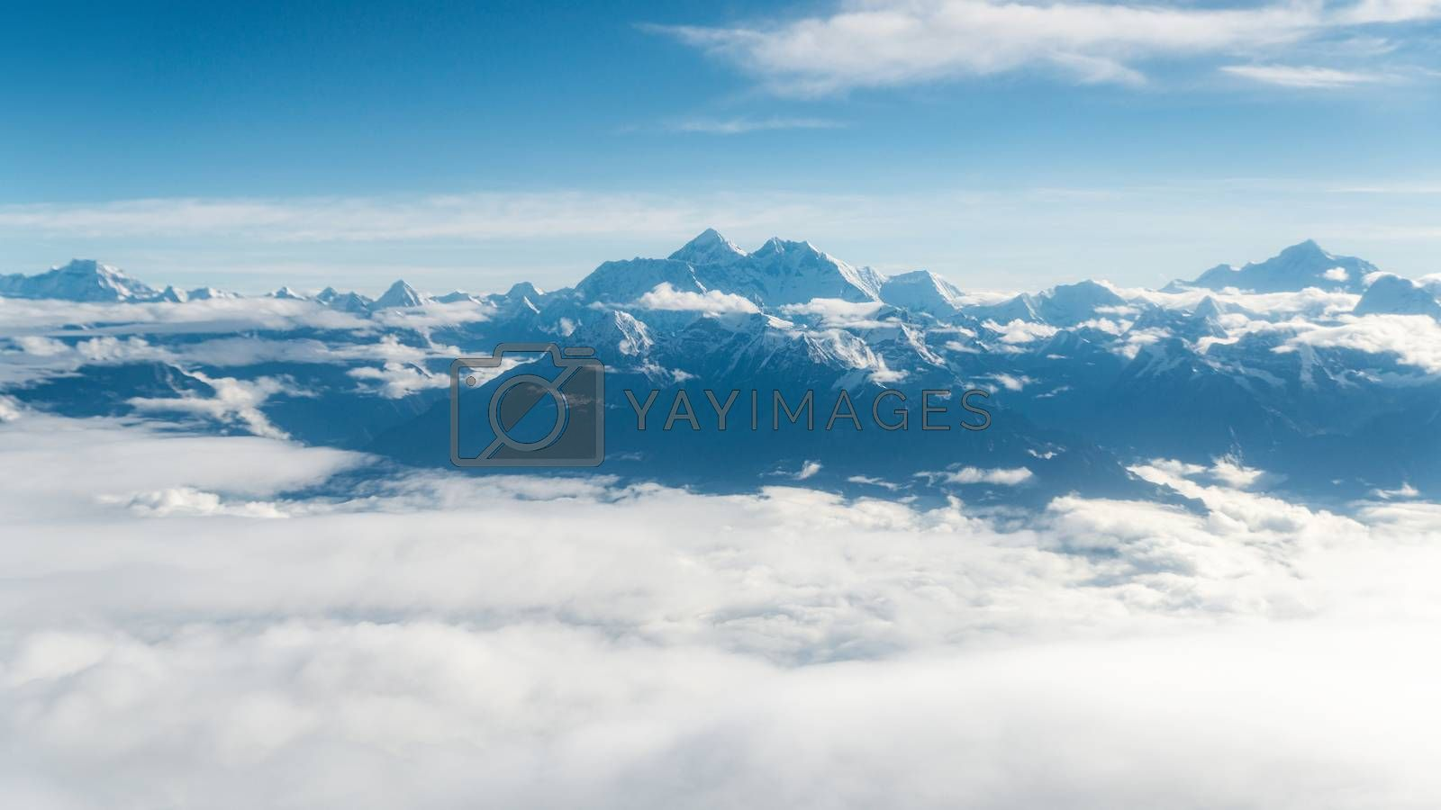 Mount Everest aerial view from a mountain flight, in Nepal