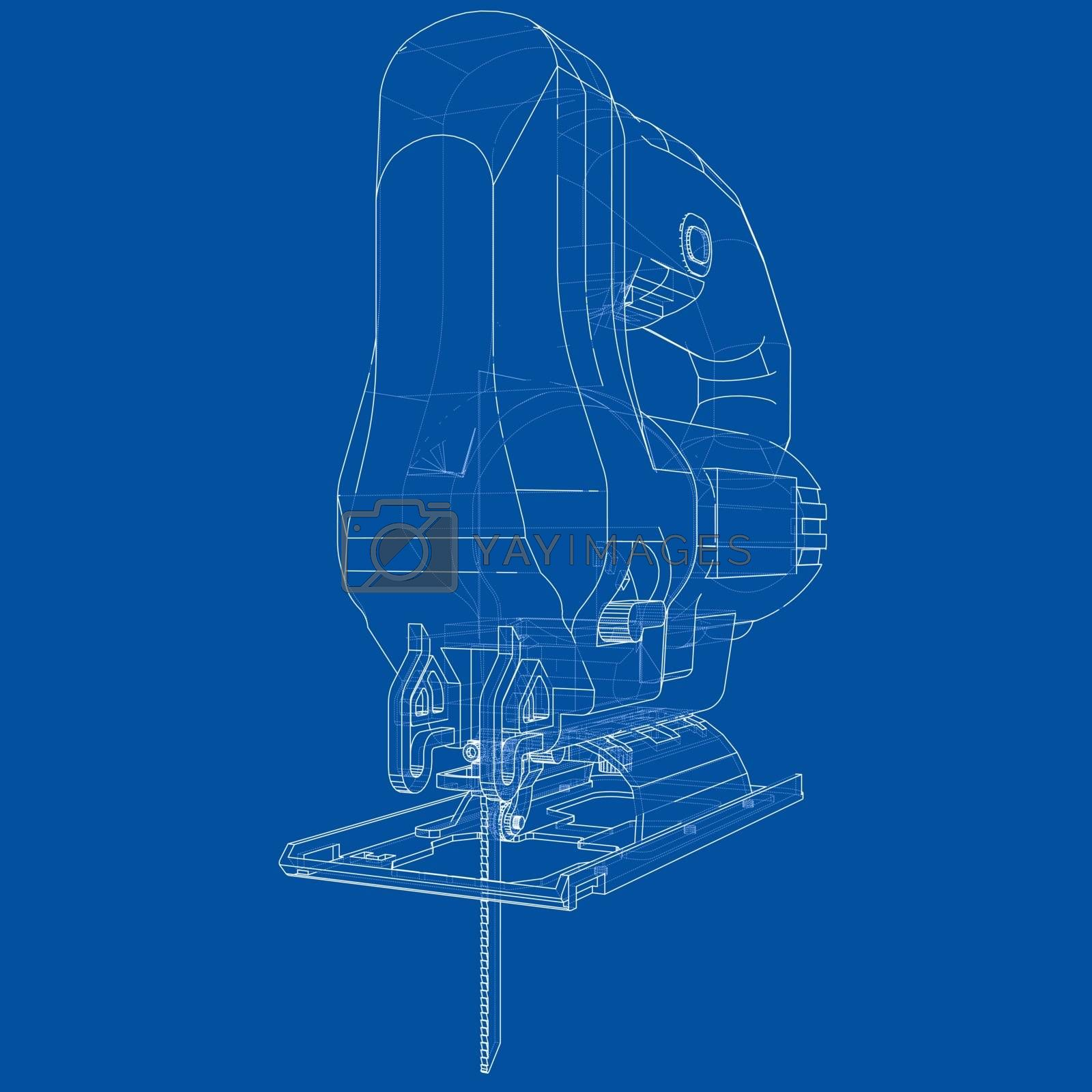 Outline Jig saw. Vector by cherezoff