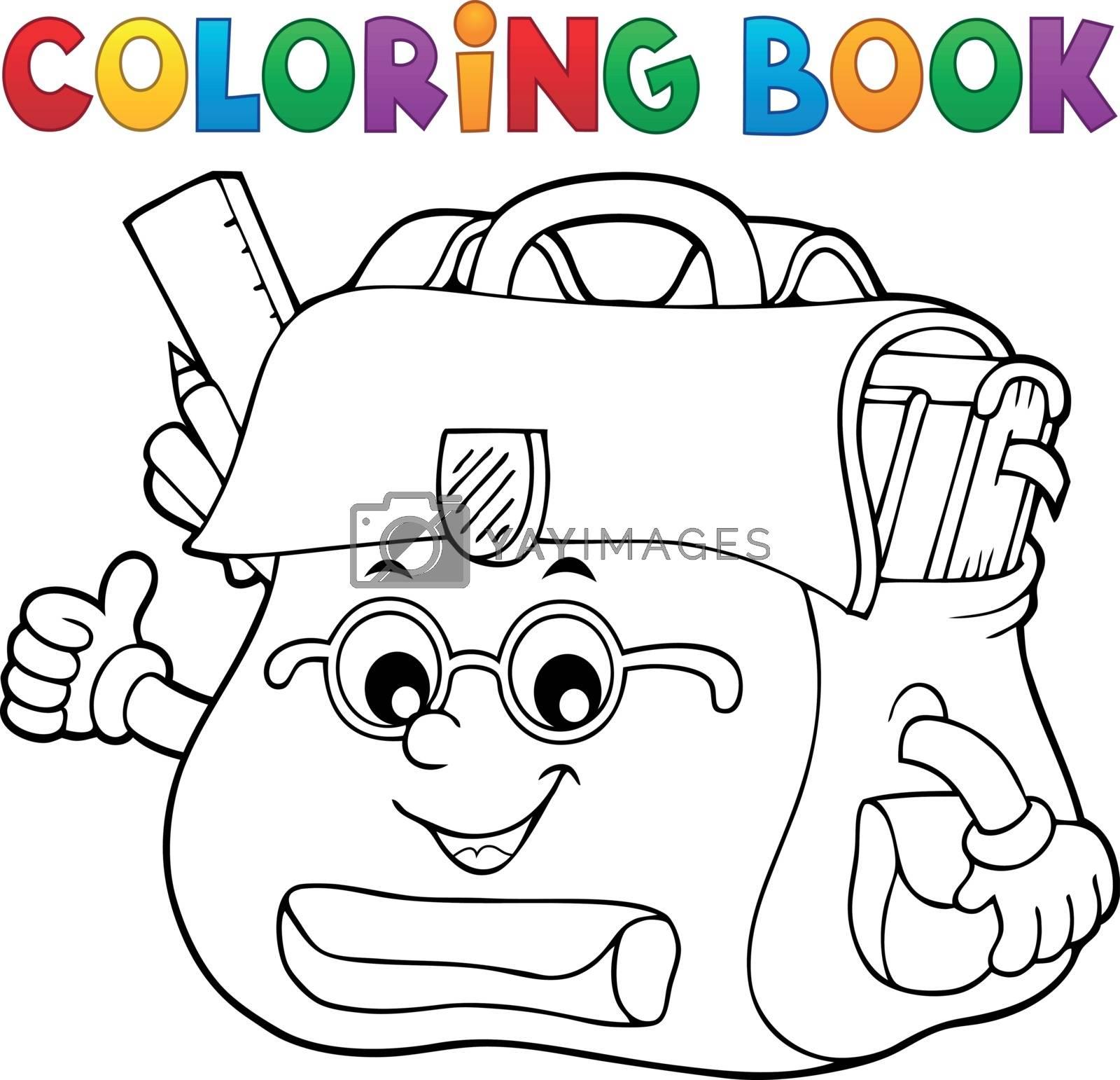 Coloring book happy schoolbag topic 2 - eps10 vector illustration.