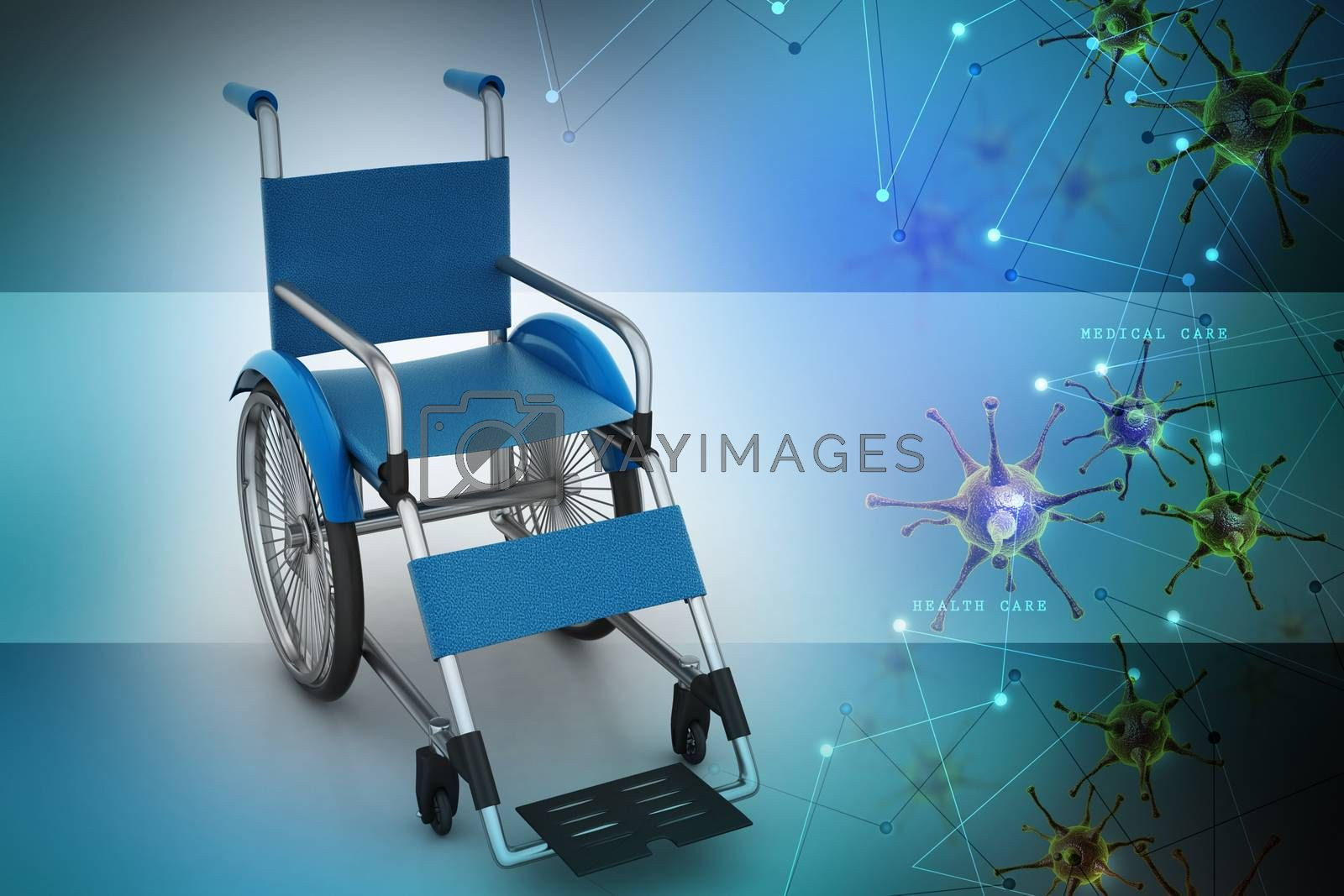Medical wheel chair with virus  in color background by cuteimage