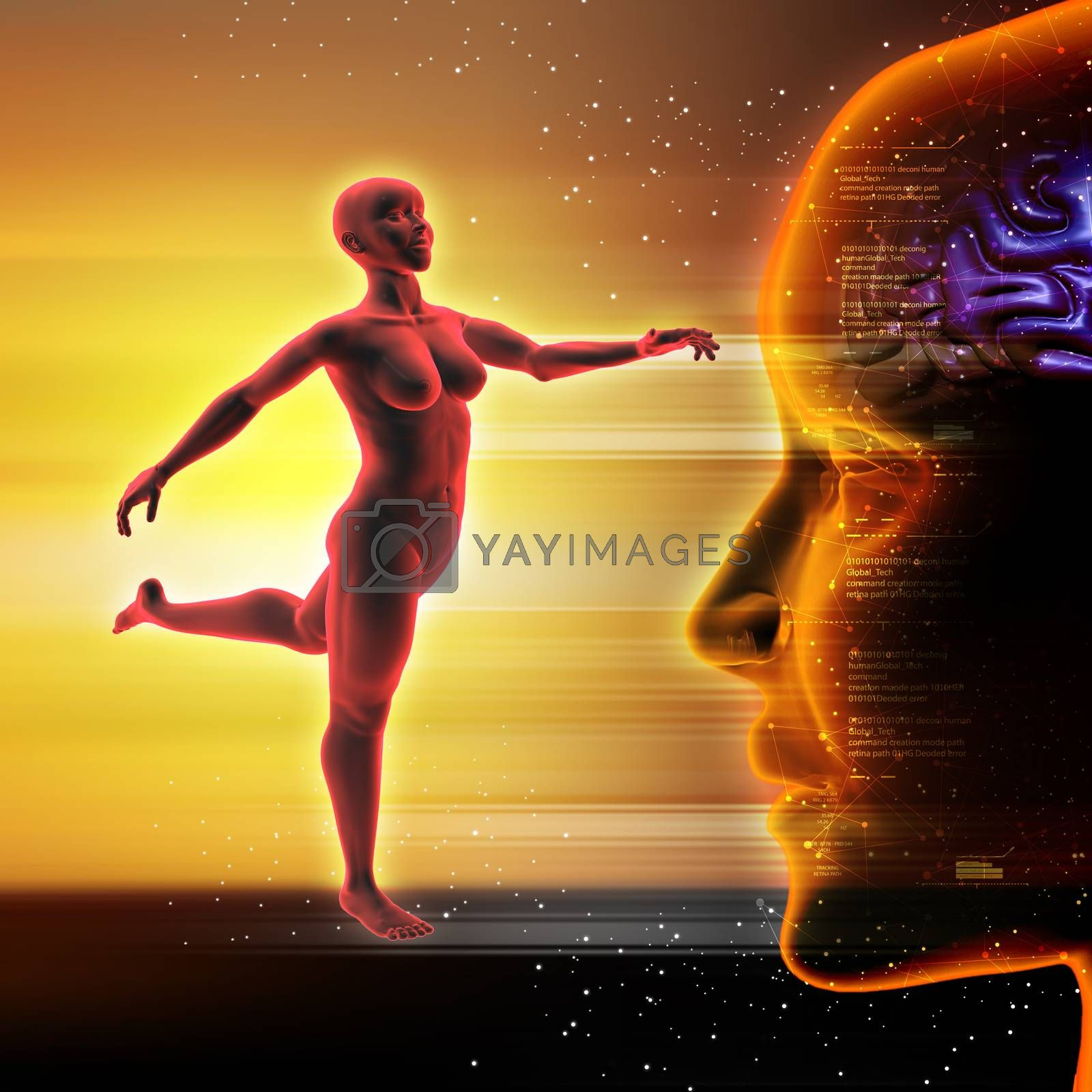 3d woman with yoga steps by cuteimage