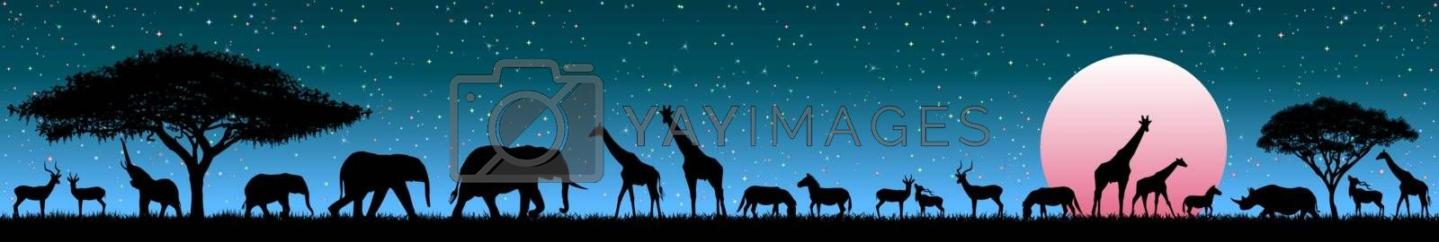 Silhouettes of wild animals of the African savannah. Set of different wild animals of Africa. African animals against the starry sky and the rising sun.