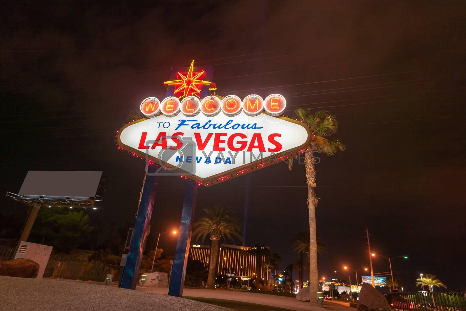 Famous Las Vegas sign at night in Las Vegas city, Nevada, USA