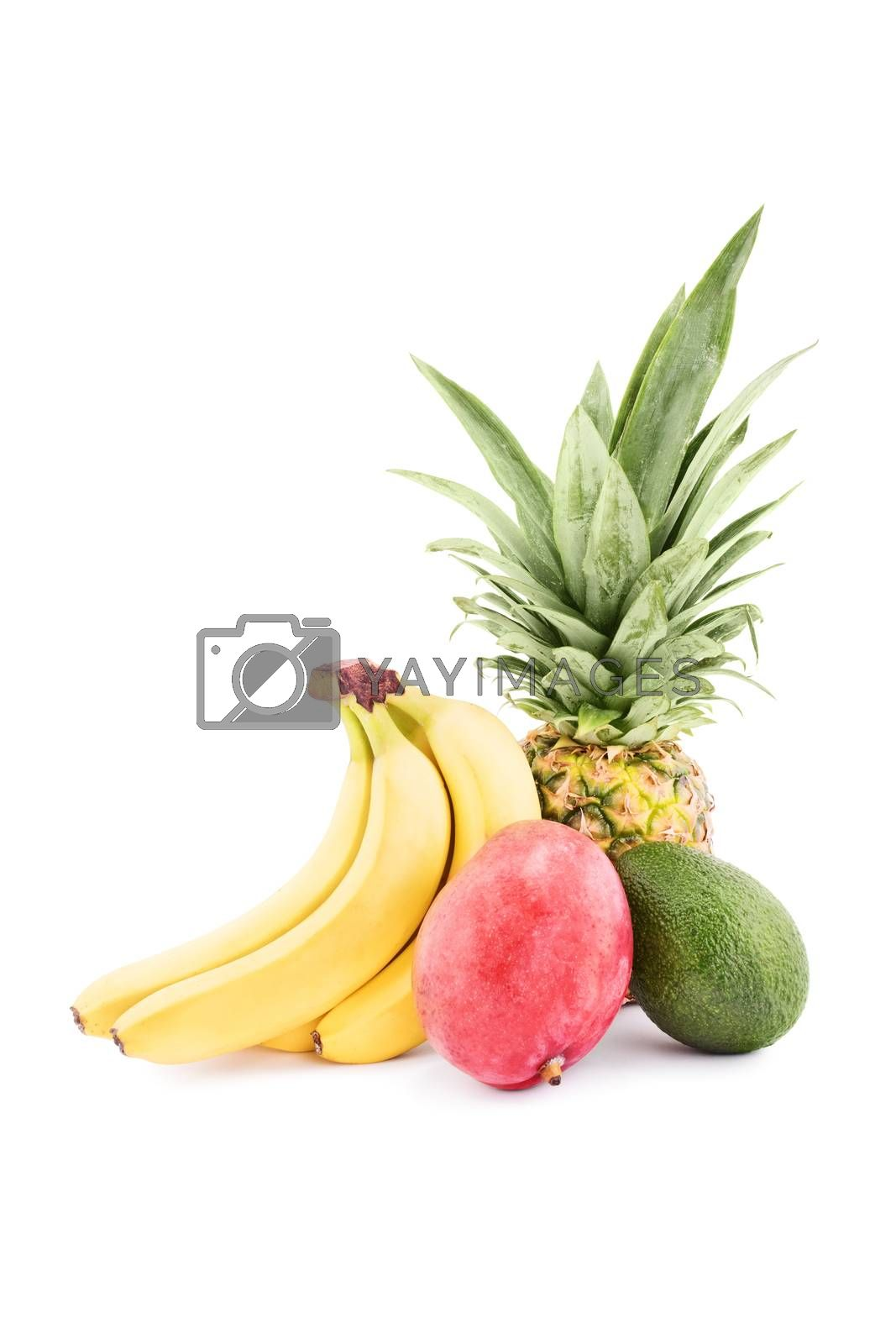 Heap of tropical fruits isolated on white background.