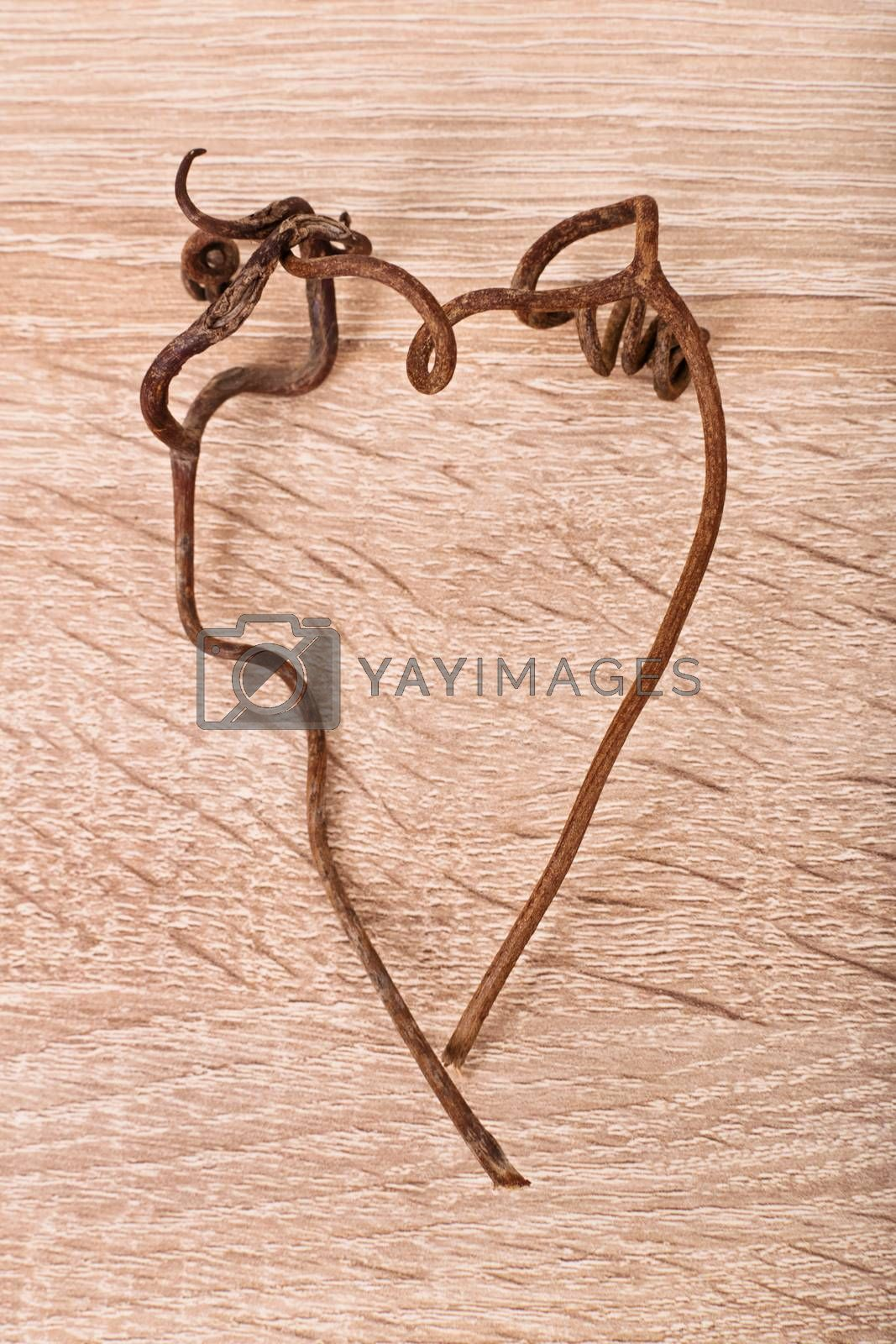 Withered heart. Heart shape made of vines on textured wooden background.