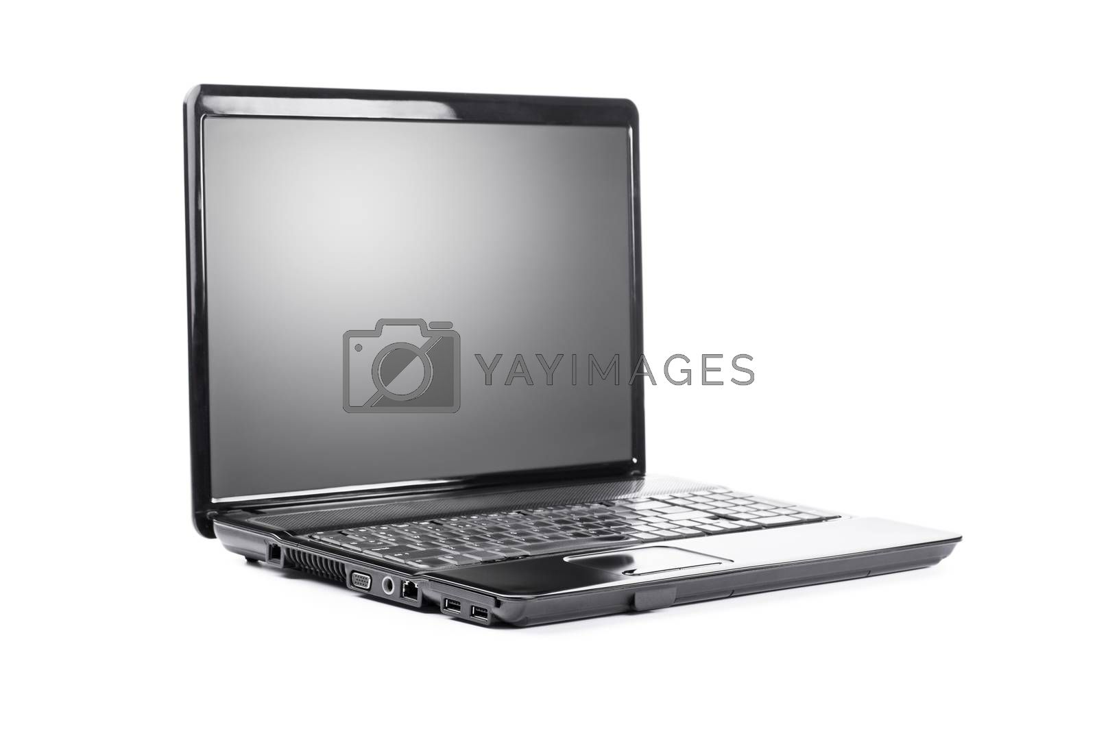 Close up shot of a black laptop, isolated on white background.