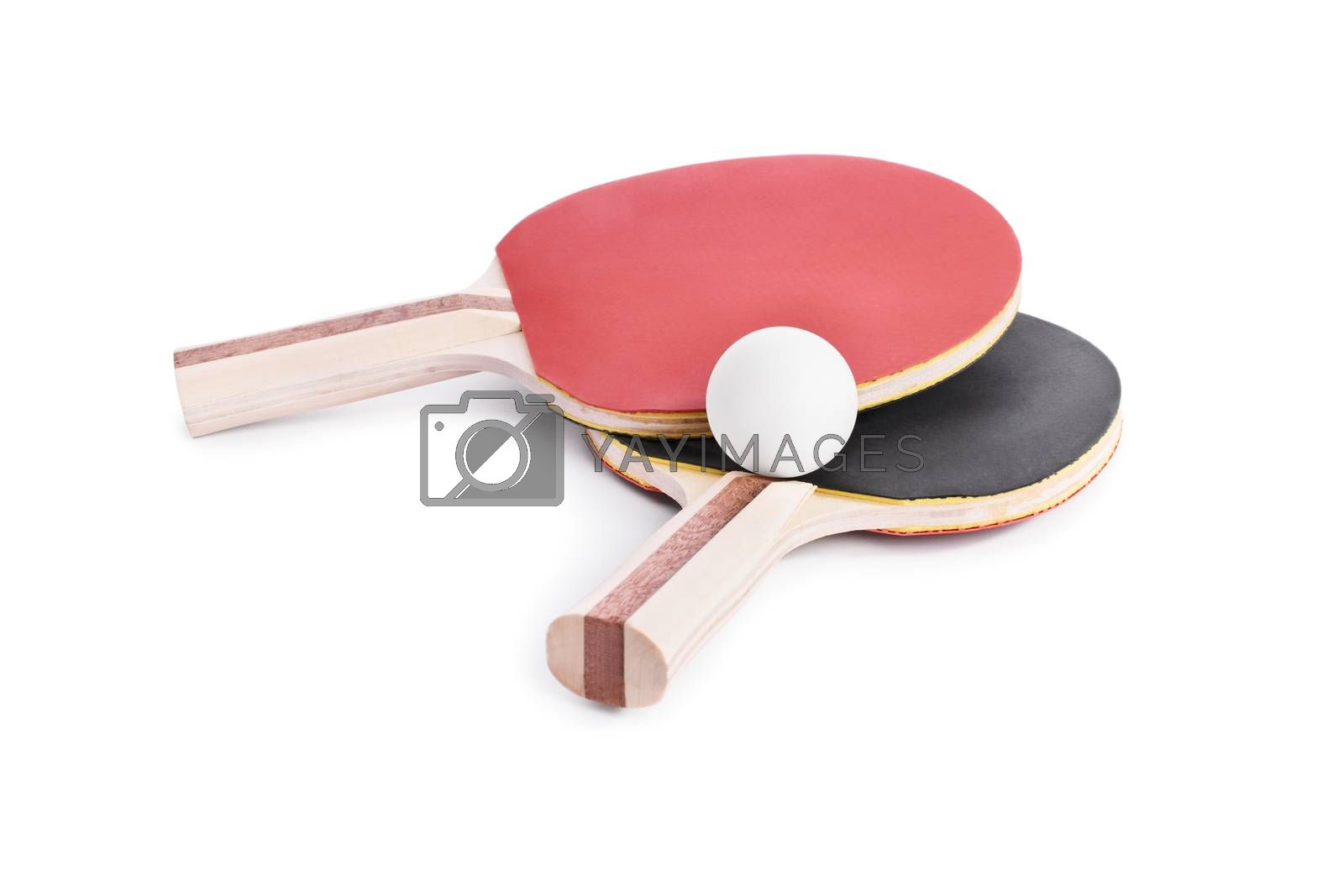 Close-up shot of ping-pong bats with a ball, isolated on white background.