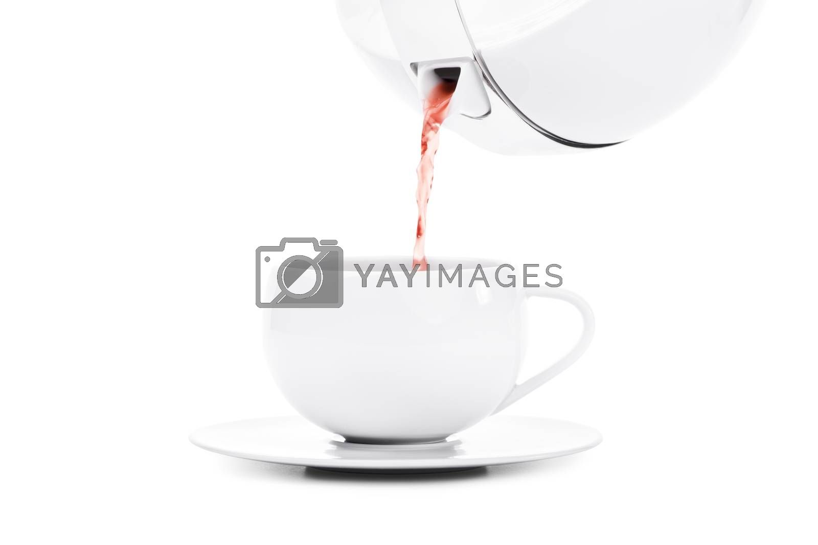 Pouring tea in an elegant white tea cup, isolated on white background.