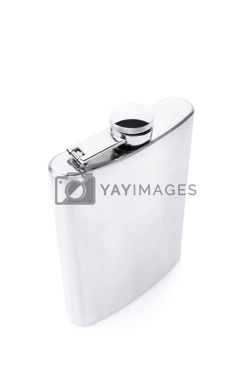 Stainless steel flask isolated on white background.