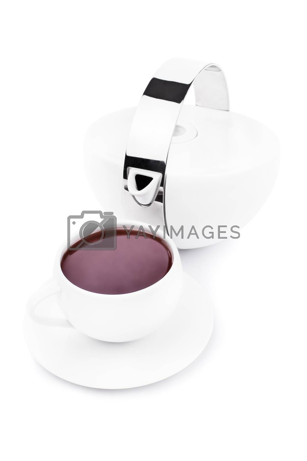 Tea cup filled with red colored tea and tea pot, isolated on white background.