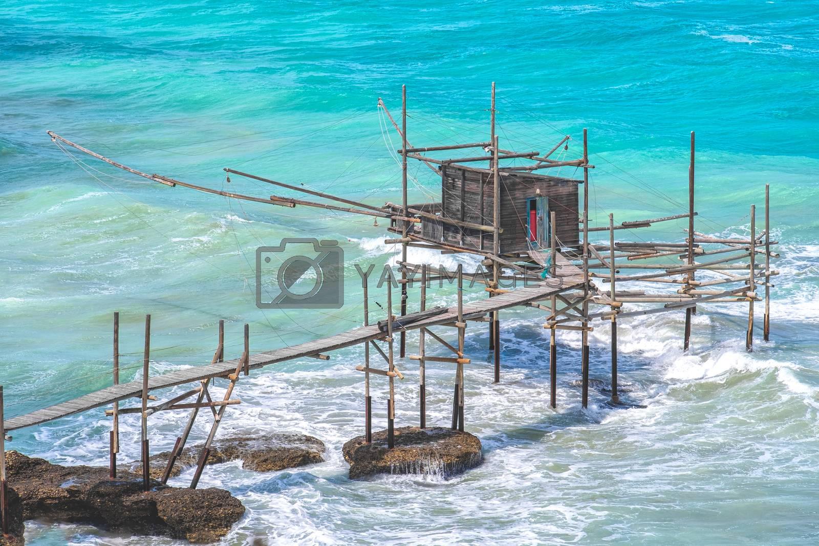 Trabocchi coast of Punta Aderci in Vasto - Abruzzo region Chieti trabucco or trabocco old wooden palatiffe stilt house shack fishing machine from south italy sea