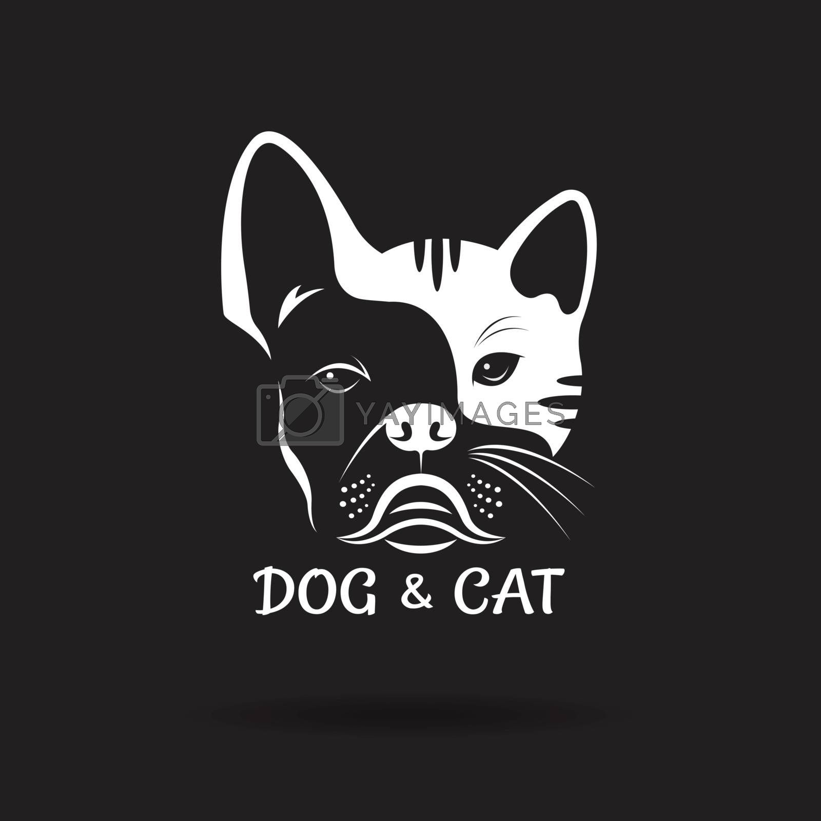 Vector of dog face (ฺbulldog) and cat face design on a black background. Pet. Animal. Dog and cat logo or icon. Easy editable layered vector illustration.