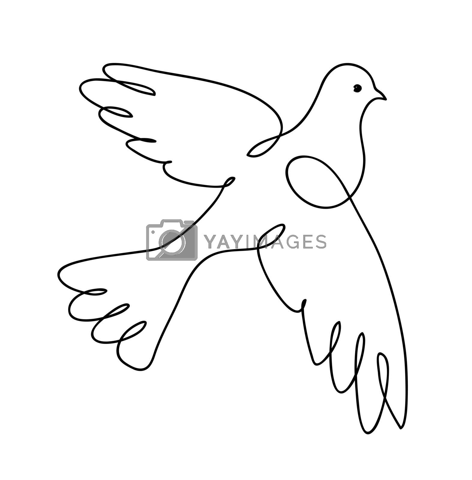 Dove. Continuous line art drawing. Pigeon. Vector logo illustration. by ESSL