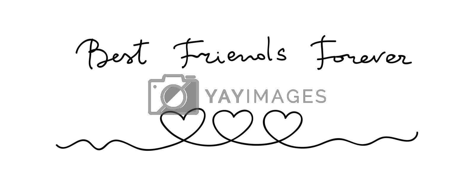 Hearts. Continuous line art drawing. Friendship concept. Best friend forever. Black and white vector illustration.