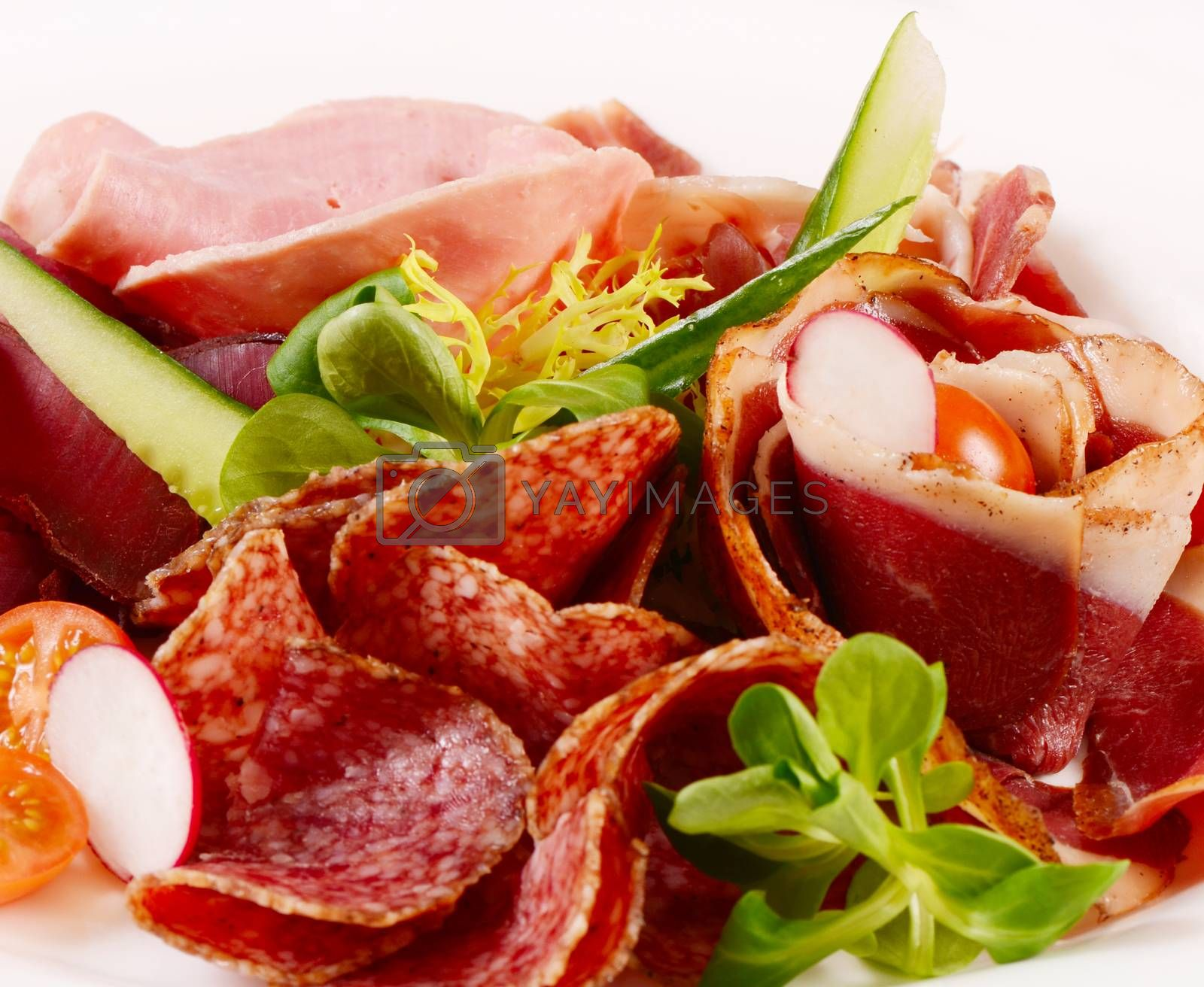 Royalty free image of Assorted Italian sausages close up as a background by SvetaVo