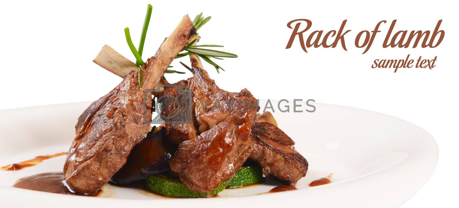 Royalty free image of Rack of lamb grill with an a asparagus by SvetaVo