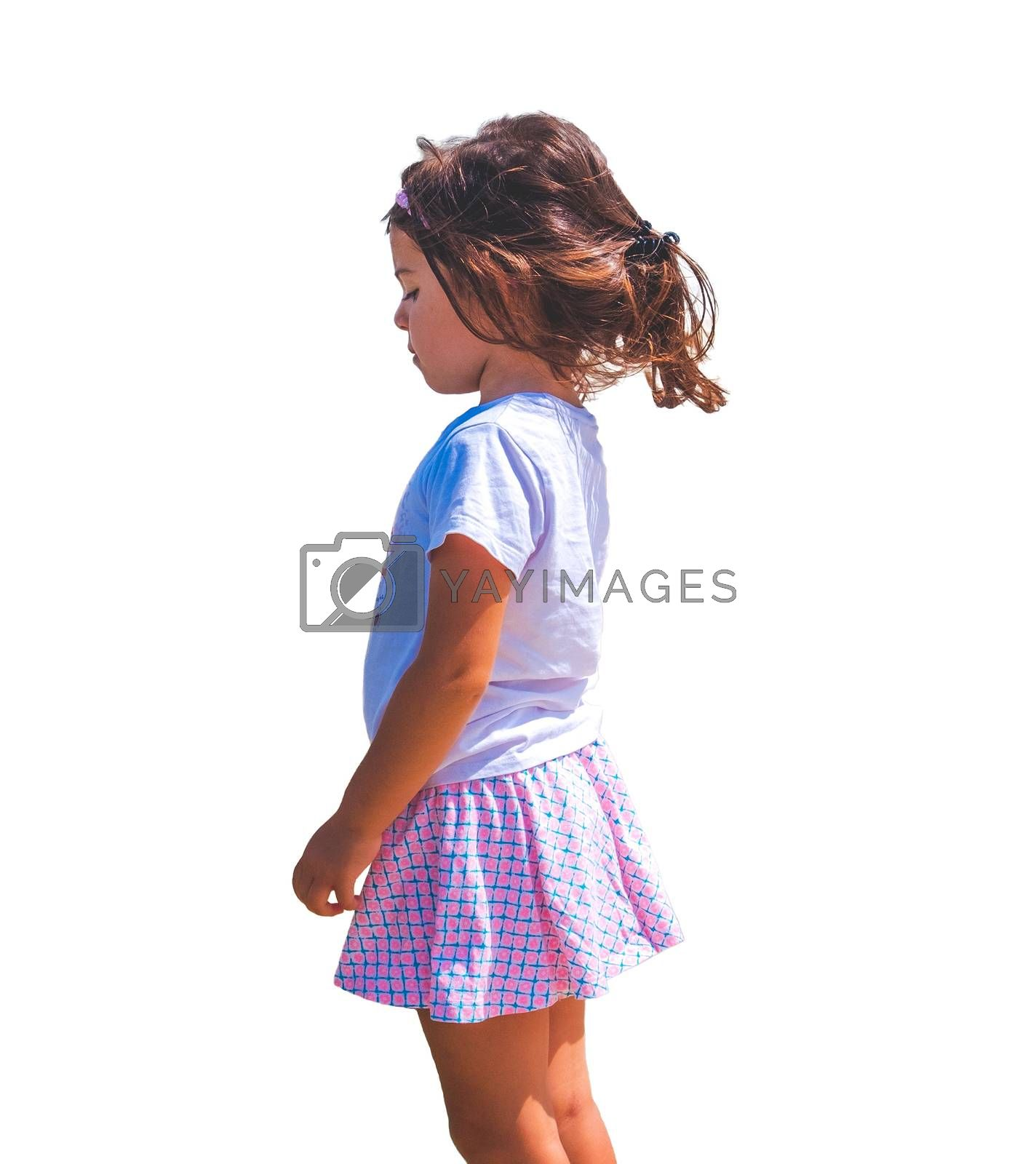 sad children emotion isolated side view female baby girl background .